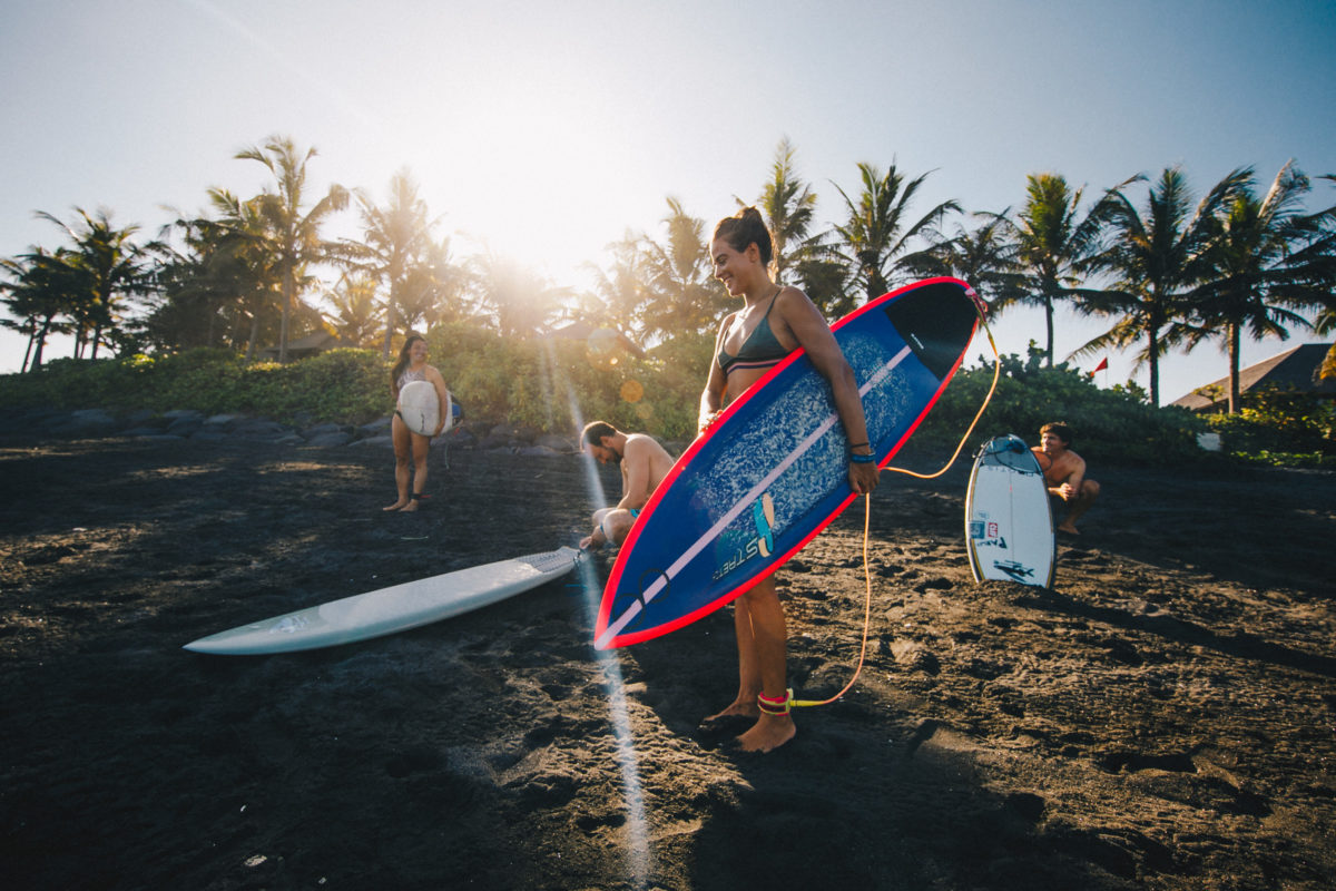 Claudia Goncalves getting ready to surf