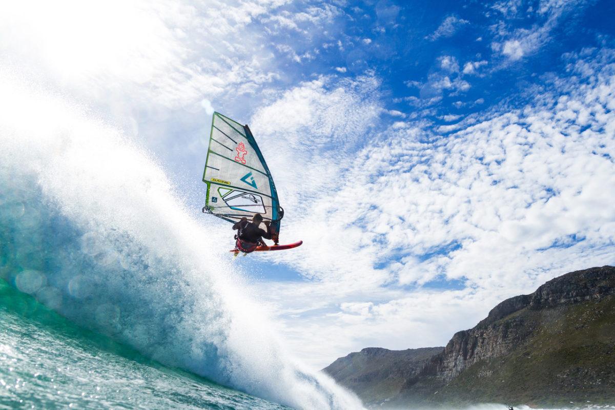 Florian Jung windsurfing catching air