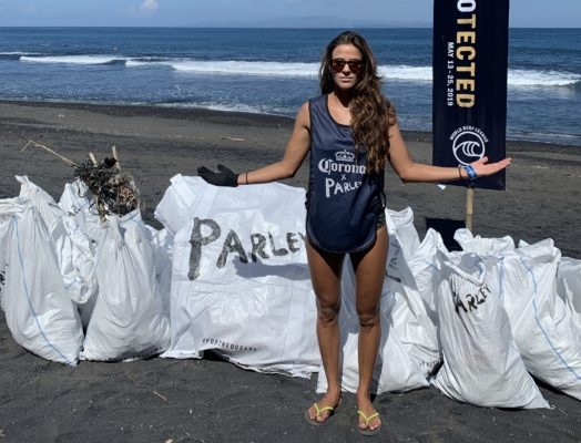 Claudia Goncalves after beach clean-up