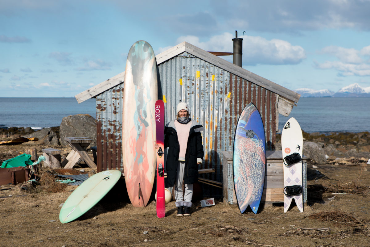 Lena Stoffel with Surfboards and Skis in Norway