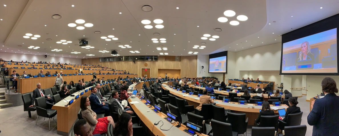 Susi Mai on screen at UN Headquarters