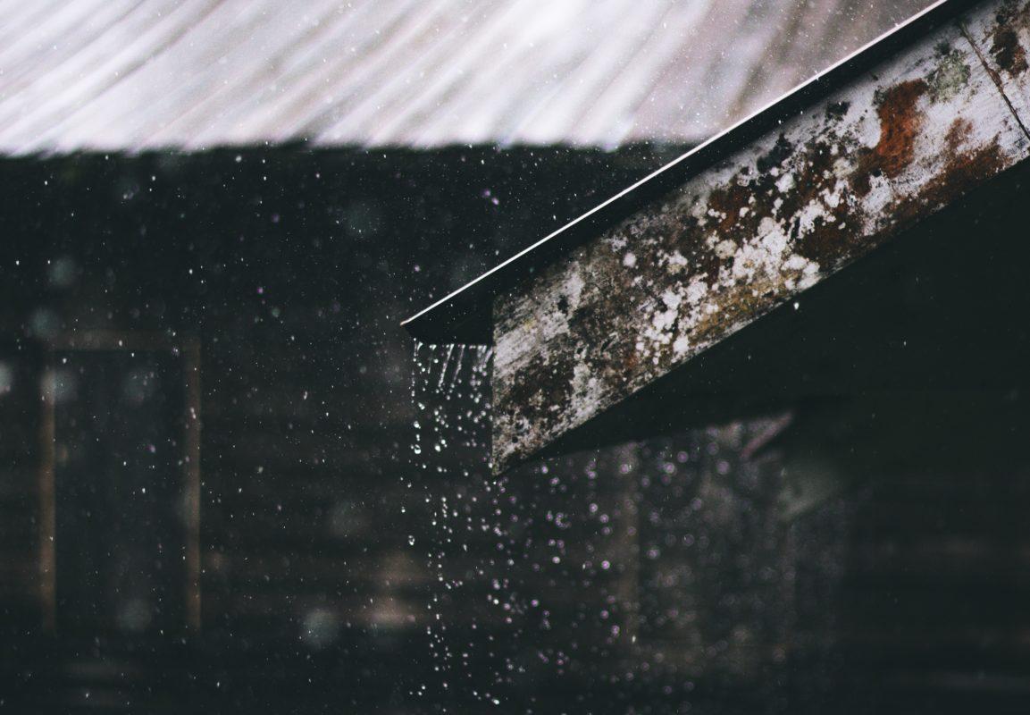 Raining running down a roof