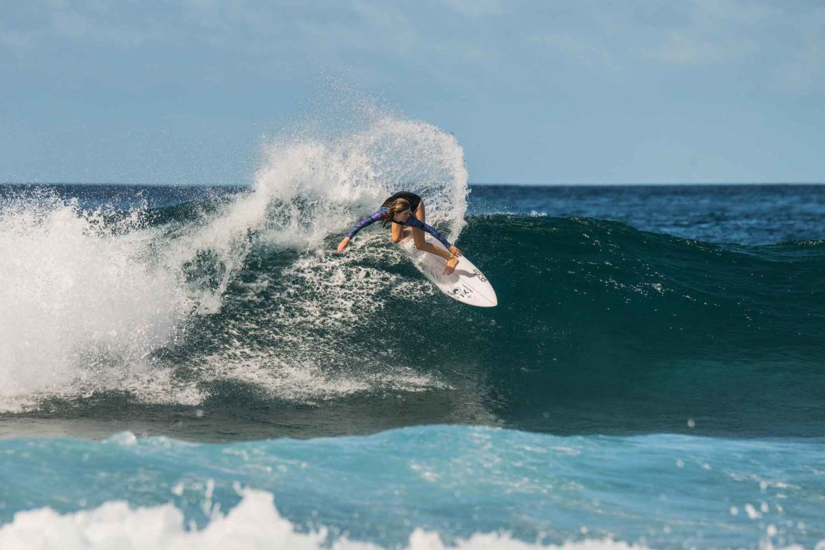 Lilly von Treuenfels surfing in the Maldives