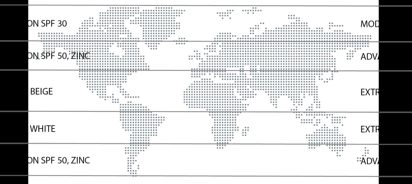 Weltkarte: Mineralische Sonnencreme Anwendung